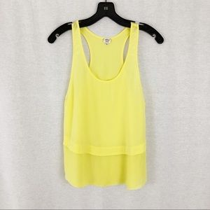 Wilfred 100% Silk Yellow Racer Back Tank Top
